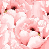 Beautiful seamless background with pink flowers. - 92415797
