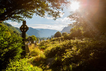 Old Celtic Cross In Glendalough, Wicklow Mountain, Ireland