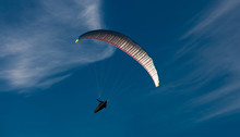 Paragliding From Rhossili Downs On The Gower Peninsular, South Wales.