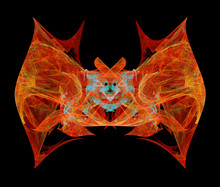 Abstract Bat On Black Background, Suitable For Halloween Night, Isolated Illustration