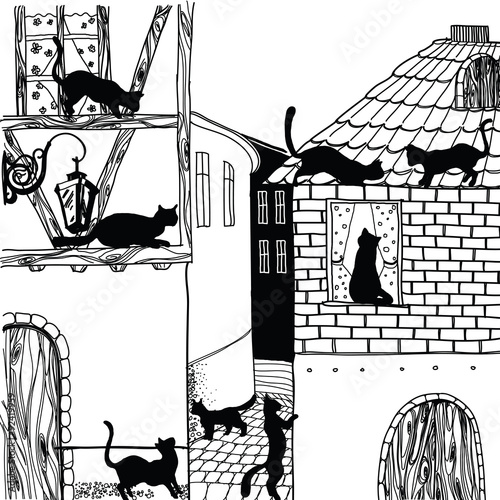 Illustration of cat in town black and white