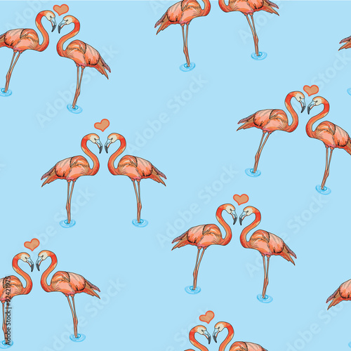 Canvas Prints Flamingo Bird Illustration of love pink flamingos in water