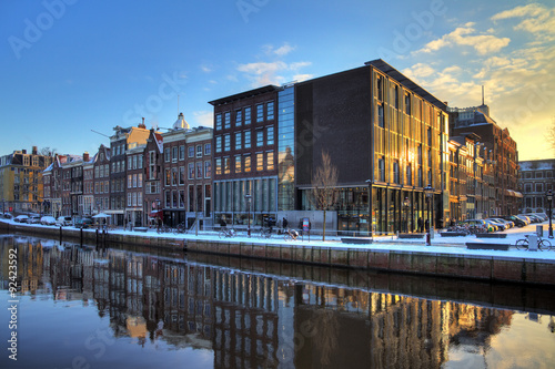 Anne Frank house and holocaust museum in Amsterdam, the Netherlands, on a sunny winter morning Tableau sur Toile