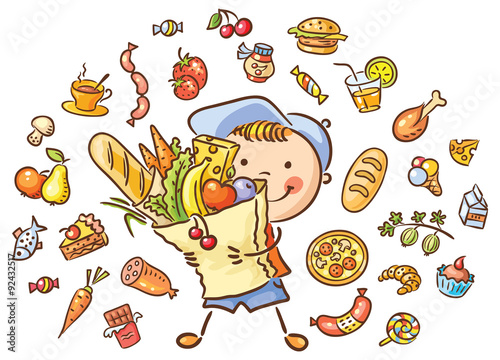 Deurstickers Magische wereld Child with a big bag full of food and isolated food set