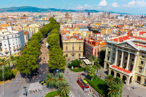 Poster Barcelona La Rambla in Barcelona, Catalonia, Spain