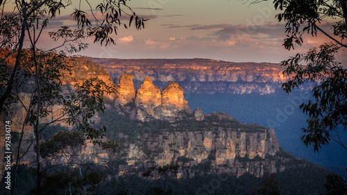 Poster Australie Three Sisters at sunset