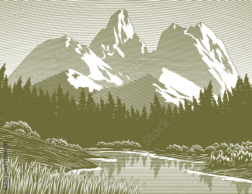 Fotobehang Wit Woodcut-style illustration of a mountain lake scene.