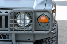 Front Of  Army Jeep Or Military Jeep Closeup