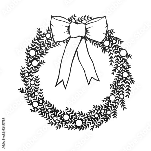 Abstract Christmas Wreath Illustration Hand Drawn Branches And