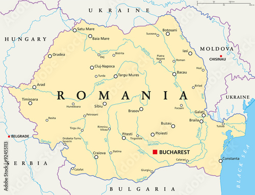 Fototapeta Romania political map with capital Bucharest, national borders, important cities, rivers and lakes