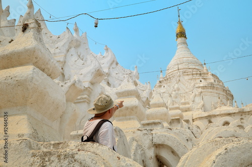 Man in white temple in Mandalay Poster