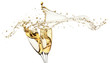 canvas print picture - champagne splashes from glasses isolated on the white background