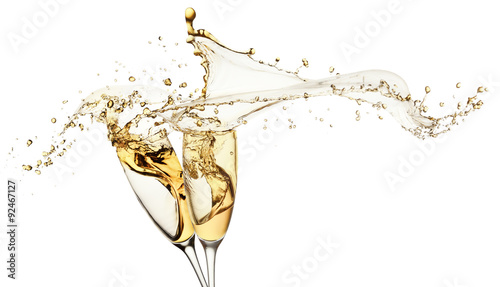 Fényképezés  champagne splashes from glasses isolated on the white background
