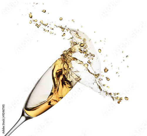 Fényképezés  champagne splash from glass isolated on the white background