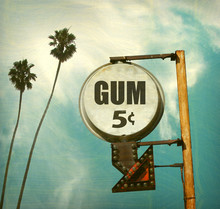 Aged And Worn Vintage Photo Of Gum Five Cents Sign
