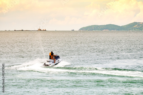 Spoed Foto op Canvas Water Motor sporten People riding jet ski in the sea
