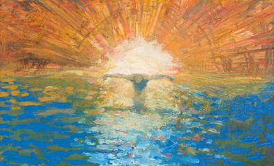 Fototapeta Do kościoła Jerusalem - Crucified Jesus as the light of the world modern painting