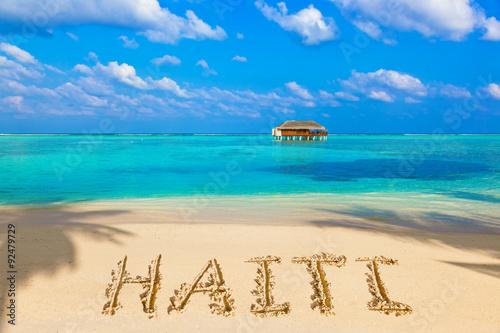 Photo Word Haiti on beach
