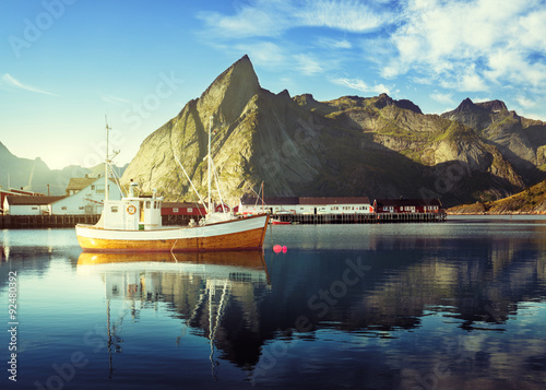 Garden Poster Scandinavia sunset - Reine, Lofoten islands, Norway