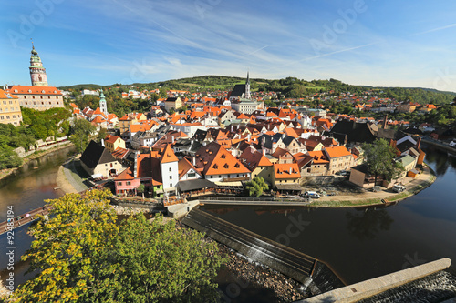 Panorama of the old town of Cesky Krumlov, Czech Republic Poster