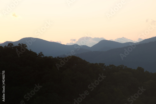 Photo  Sunset over the mountains
