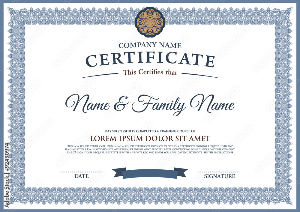 Fototapety, obrazy: Vector certificate template.
