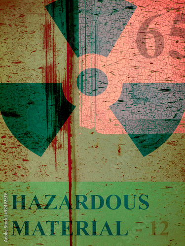 Fotografie, Obraz  aged rusted metal grunge industrial design with symbol and hazardous warning