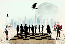 Silhouettes Of People On The Chess-board