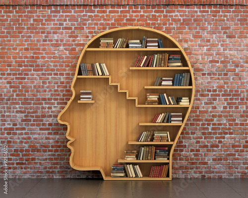 Concept of training. Wooden bookshelf full of books in form of m Canvas Print