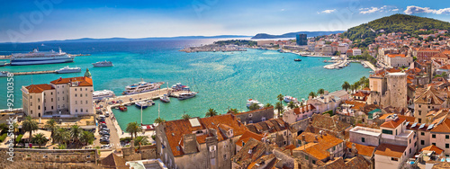Photo sur Toile Cote Split historic waterfront panoramic aerial view