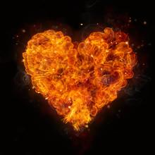 Hot Fires Flames In Heart Shape