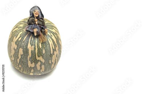 Fotografie, Obraz  Calabaza y bruja de Halloween.