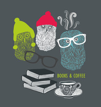 Three Cute Owls With Books And...