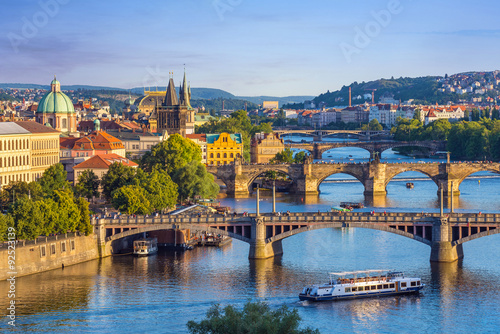 Prague city skyline and Charles Bridge, Prague, Czech Republic Poster