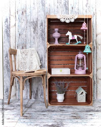 Foto-Tapete - Retro interior with chair and three wooden  crates (von Kira Nova)