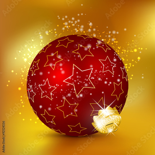 Single Weihnachten.Single Red 3d Christmas Ball With Starlet Texture And Sparkle