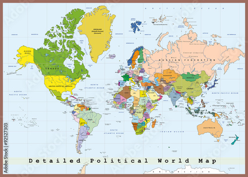 Keuken foto achterwand Wereldkaart Detailed Political World Map