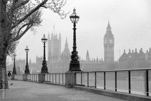 Foto op Canvas Londen Big Ben & Houses of Parliament, black and white photo