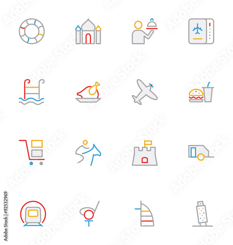 Travel Colored Outline Vector Icons 9 Poster