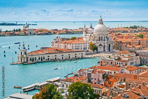 Fényképezés  Panoramic aerial cityscape of Venice with Santa Maria della Salute church, Venet