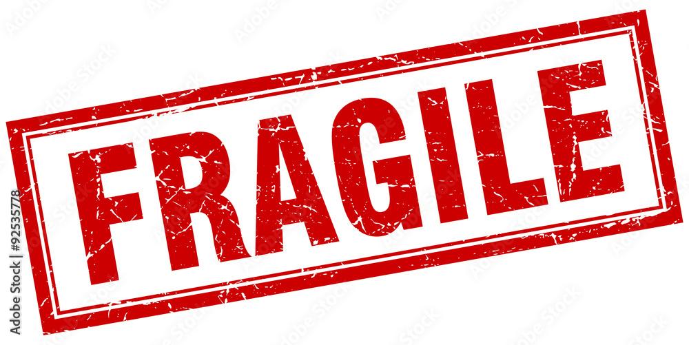 Fototapeta fragile red square grunge stamp on white