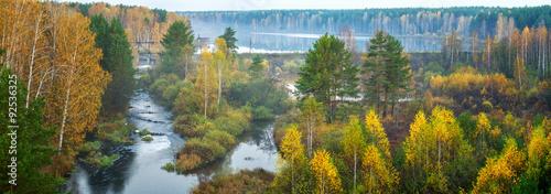 Осенний пейзаж туманным утром в лесу и рекой, Россия, Урал #92536325