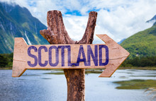 Scotland Wooden Sign With Land...