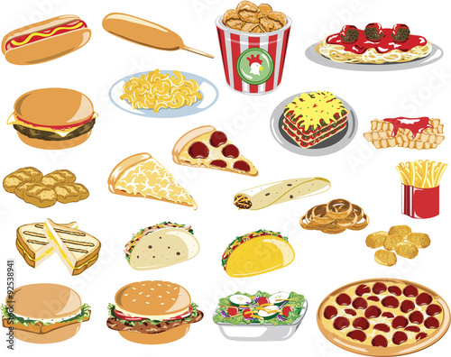 Assorted Fast Food Icons Poster