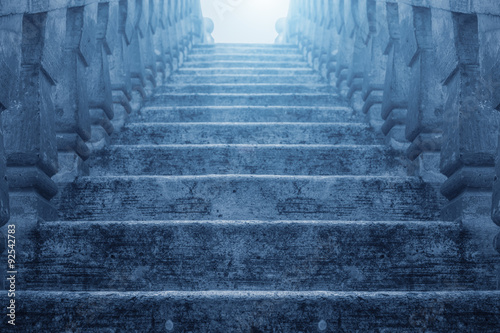 Photo Stands Stairs Blue Gate