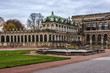 Panoramic view of Zwinger Palace at evening. Dresden, Germany.