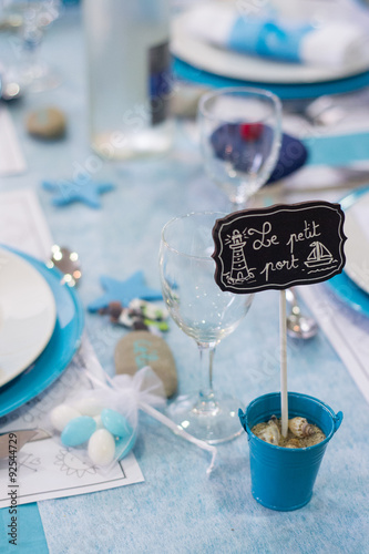 Deco De Table Mariage Bleu Turquoise Buy This Stock Photo And