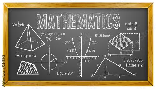 Plakat w ramie Mathematics, Algebra, Geometry, Trigonometry, Blackboard