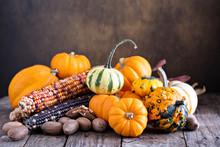 Pumpkins, Indian Corn And Vari...