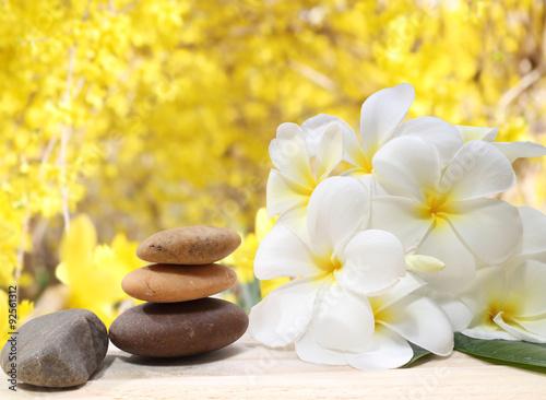 Fotografía  Zen spa concept background - Zen massage stones with frangipani plumeria flower